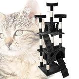 Arbre à Chat en Noir 170 cm avec Plate-Formes Niches et Échelles Griffoir Grattoir Escalade...