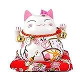 Goodwei - Maneki Neko - Statue de Chat Japonais en Porcelaine avec Cloches - Feng Shui Porte-Bonheur...